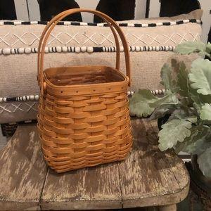 Longaberger Tiny Tote Basket w protector & handles